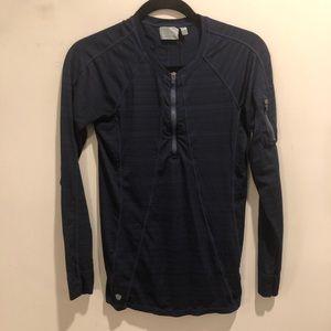 Athleta long sleeve running shirt blue quarter zip